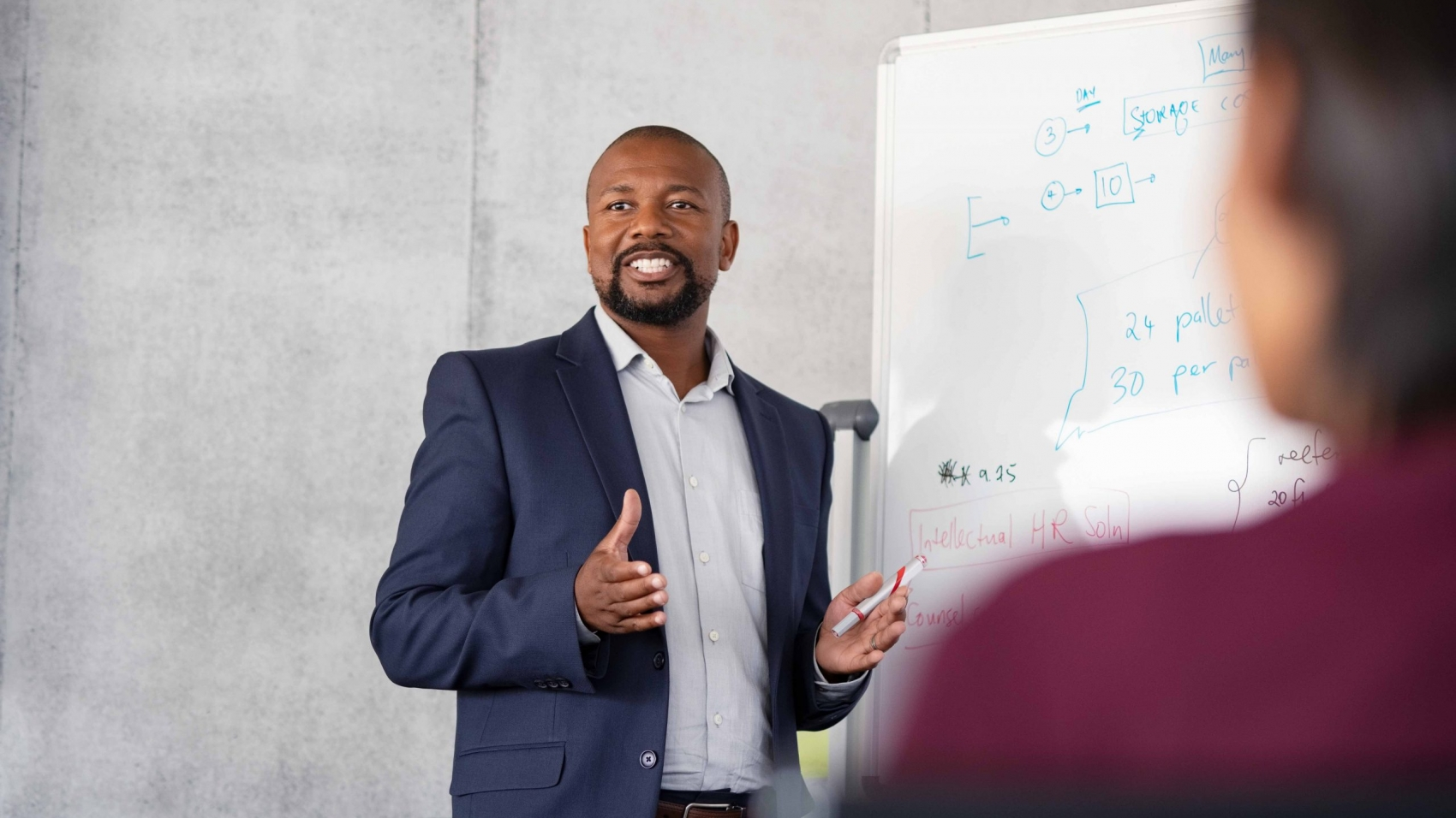 Mature african american coach explaining strategy to his team with copy space. Successful businessman presenting new project to employees during meeting room. Conference speaker talk to audience while giving presentation on whiteboard to business group of people.